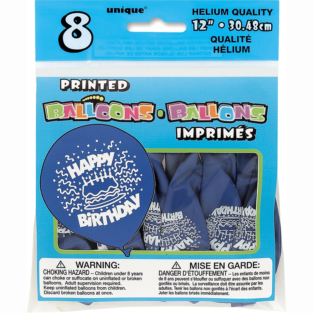 12'' Latex Royal Blue Cake Happy Birthday Balloons, 8ct by Unique Industries