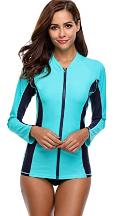 b7a34440cb9 ATTRACO Womans Zip Long Sleeve Rash Vest Rashgurad Swim Shirt Swimming Top,  Aqua, M