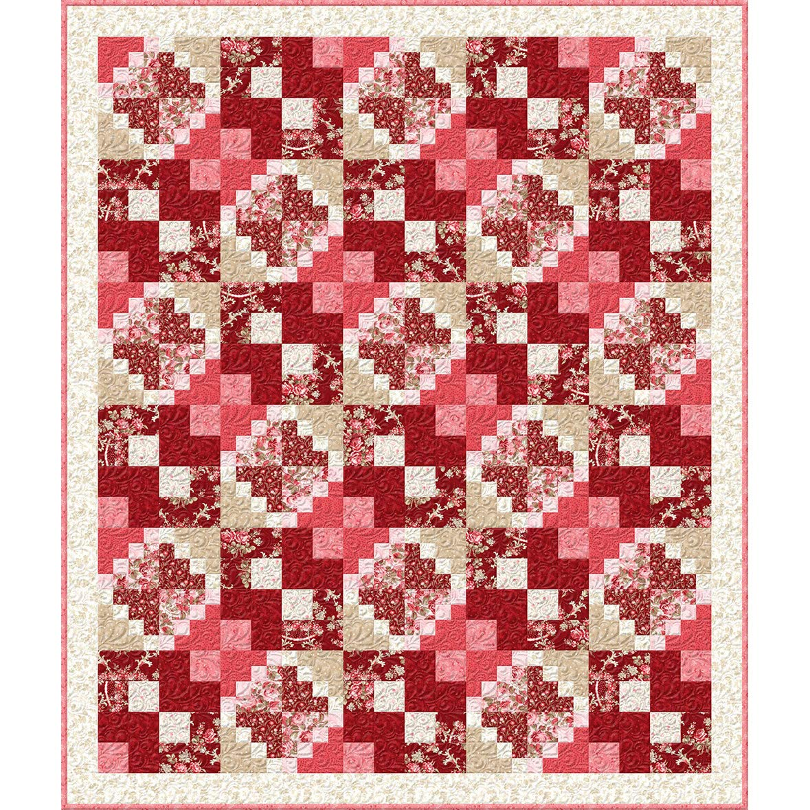 Wilmington Prints Rhapsody in Reds Kaye England Floral Patches Throw Quilt Kit by Wilmington Prints