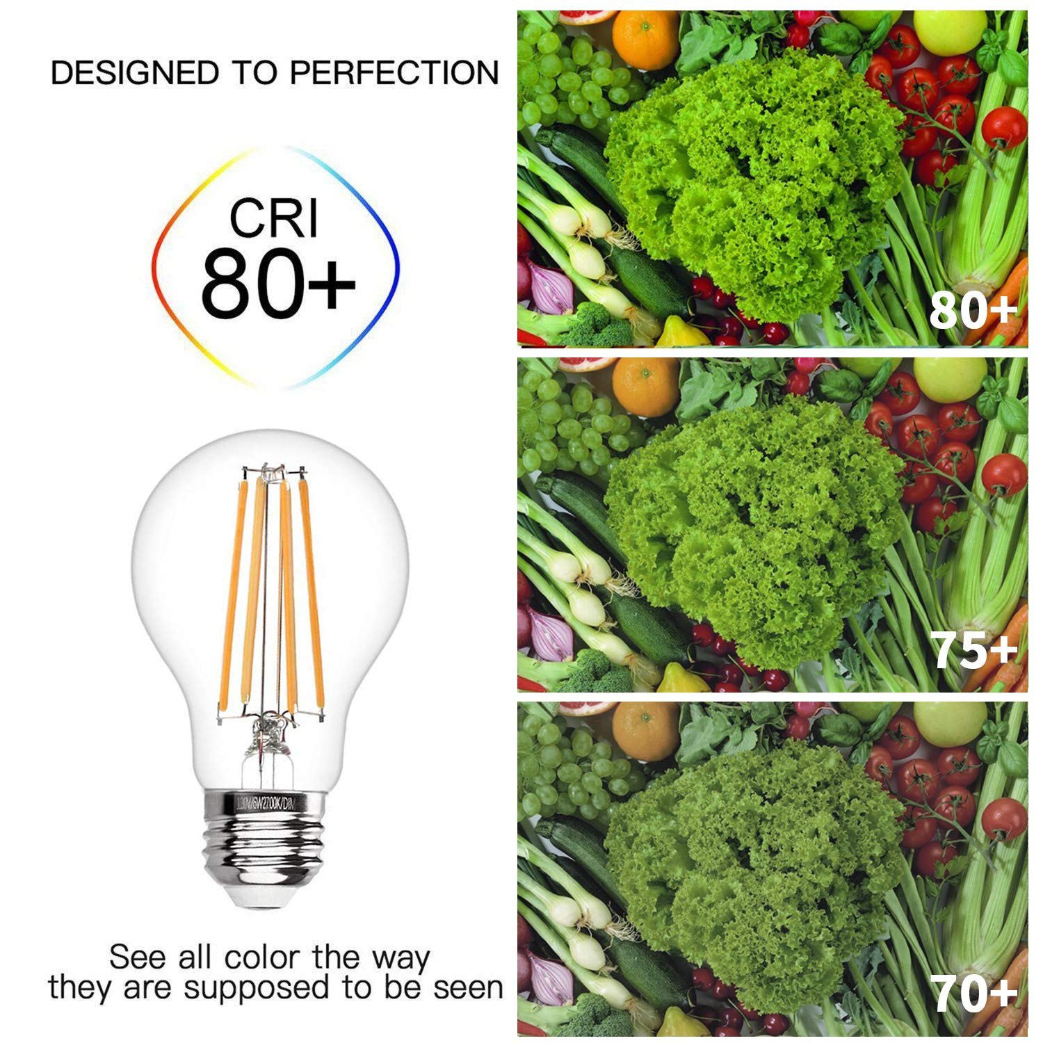 2700K//5000K Classic Clear Glass 5000K,4Pack Filament 800 Lumen 7.7W Equivalent 60 W A19 LED Bulbs Indoor//Outdoor UL Certified Energy-Saving Light Bulbs AKT Dimmable LED Light Bulb