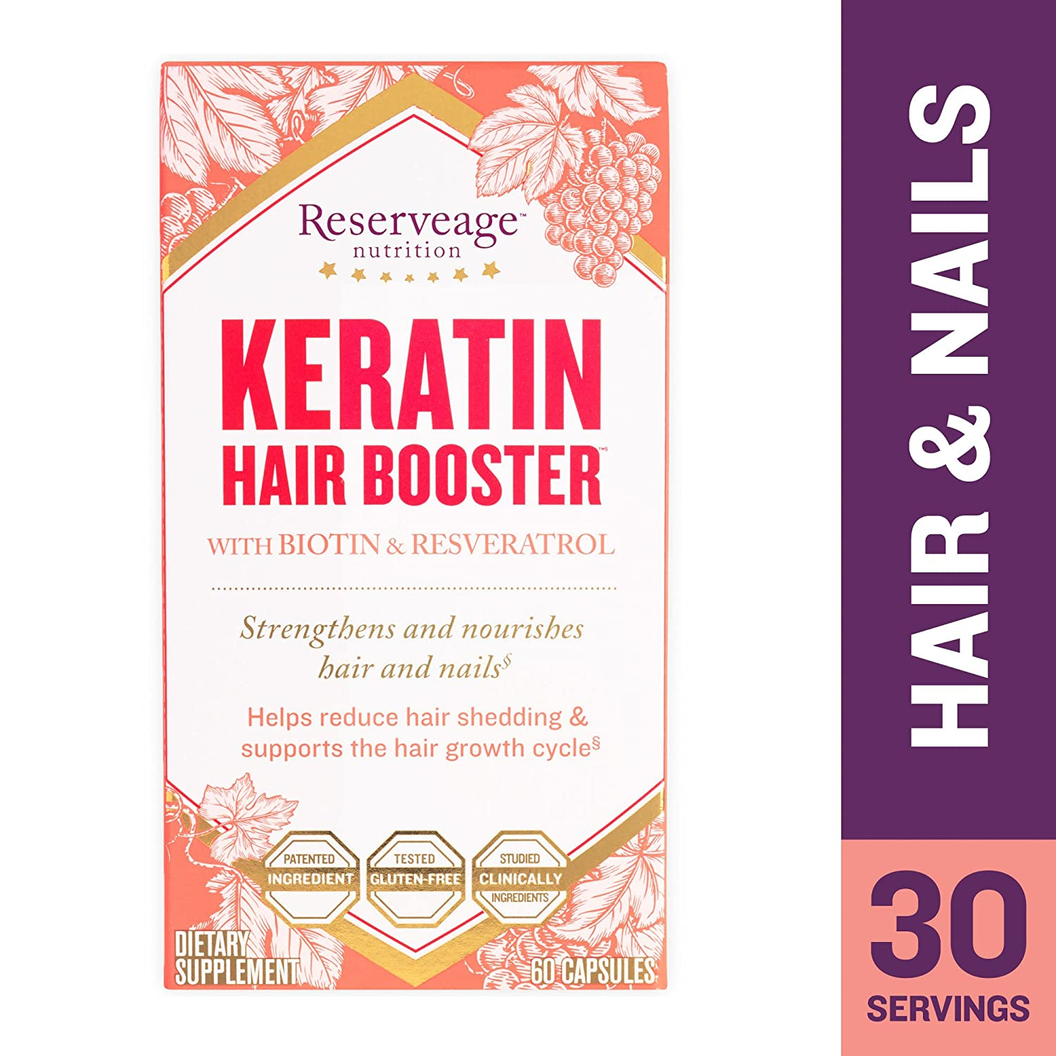 Amazon.com: Reserveage - Keratin Hair Booster with Biotin, Supports ...