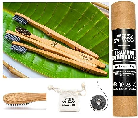 2018 PREMIUM] 4 Cepillos de dientes de bambú ecológicos [EXTRA BONUS] CHARCOAL GRATUITO