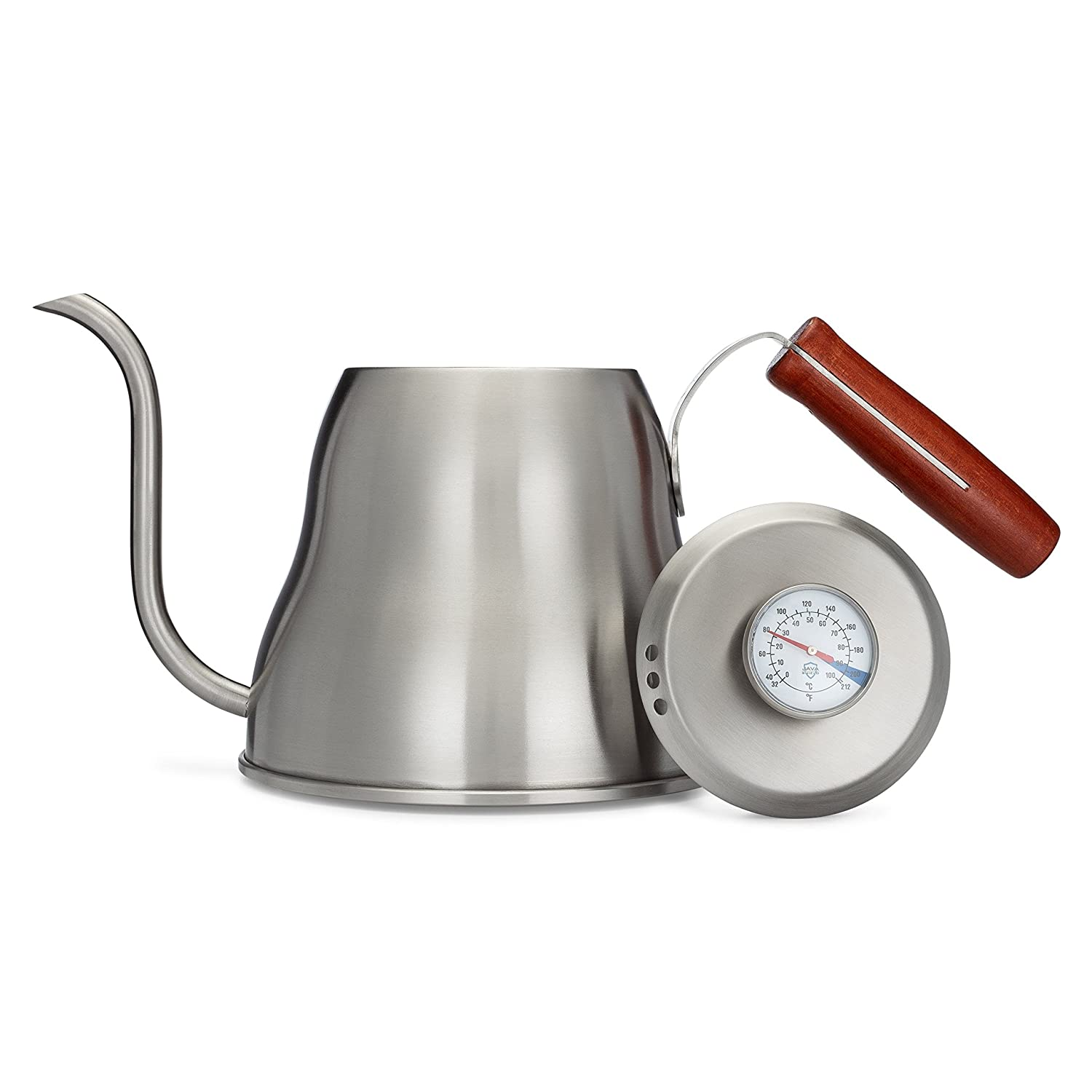 Java Shield Pour Over Kettle – Built-In Thermometer 1.2 Liter 40floz Stainless Steel with Triple Layer Base Gooseneck Spout for a Precision Pour 1.2 Liter 40floz