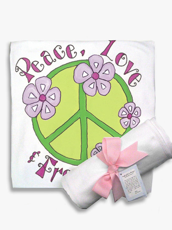 Light of Mine Designs Peace Green Receiving//Swaddling Blanket B1310