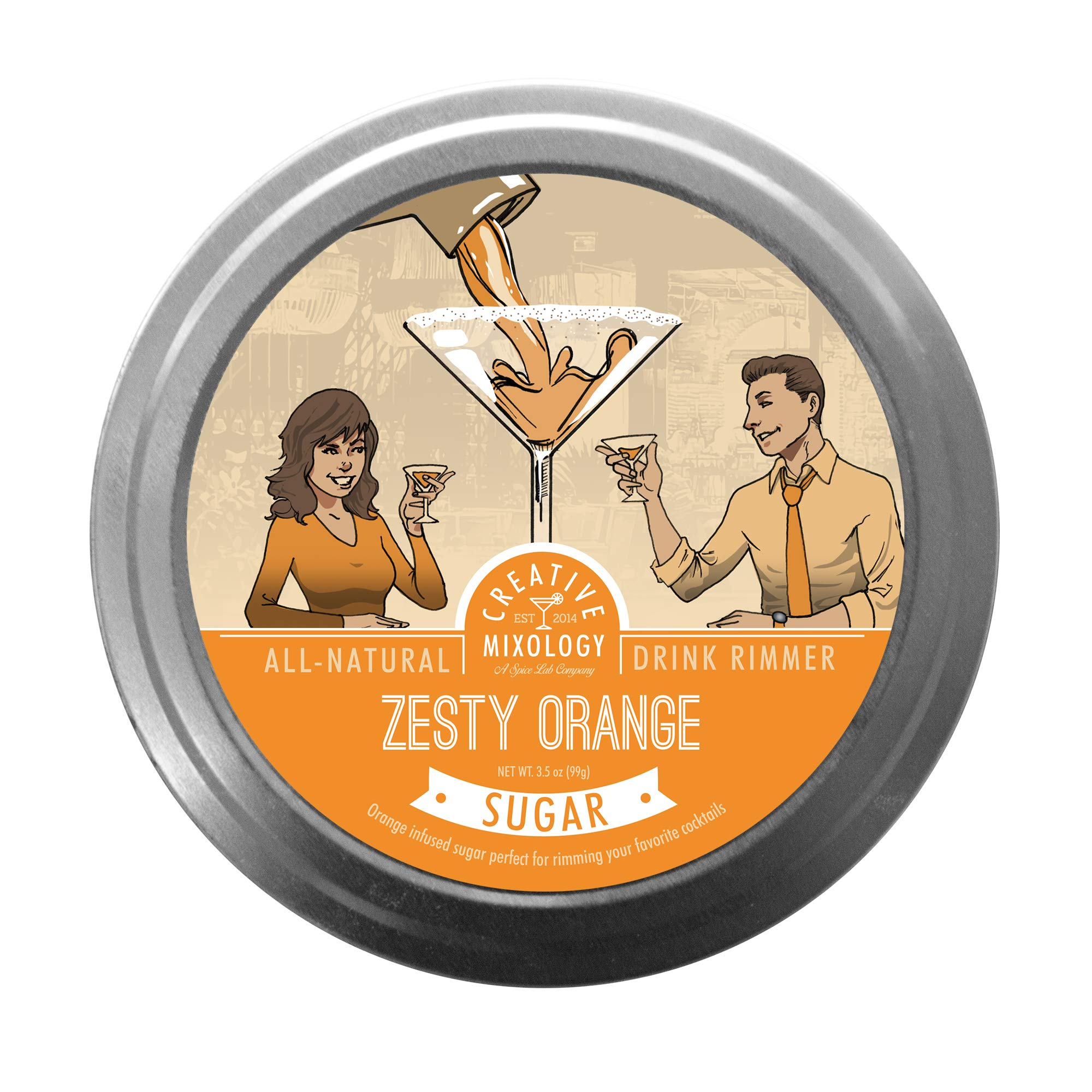 The Spice Lab All Natural Zesty Orange Sugar Cocktail Glass Rimmers for Martinis & Margaritas - 6 Pack - Gluten Free Non-GMO No MSG Brand by The Spice Lab (Image #1)