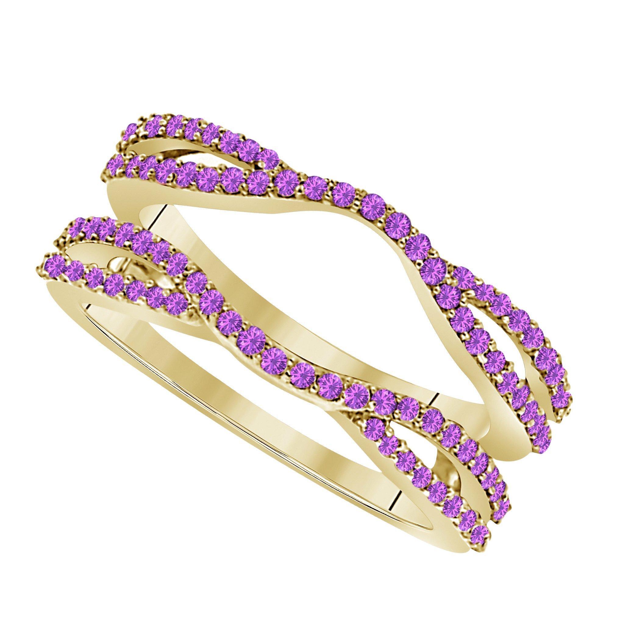 Star Retail 1/2 Ct 14K Yellow Gold Finish Round Cut Lab Created Amethyst Ladies Anniversary Wedding Band Enhancer Guard Double Chevron Ring