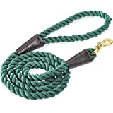 Embark Pets Country Dog Rope Leash – Braided Cotton Leashes w/Strong Leather Finish for Small Medium and Large Breed Dogs – H