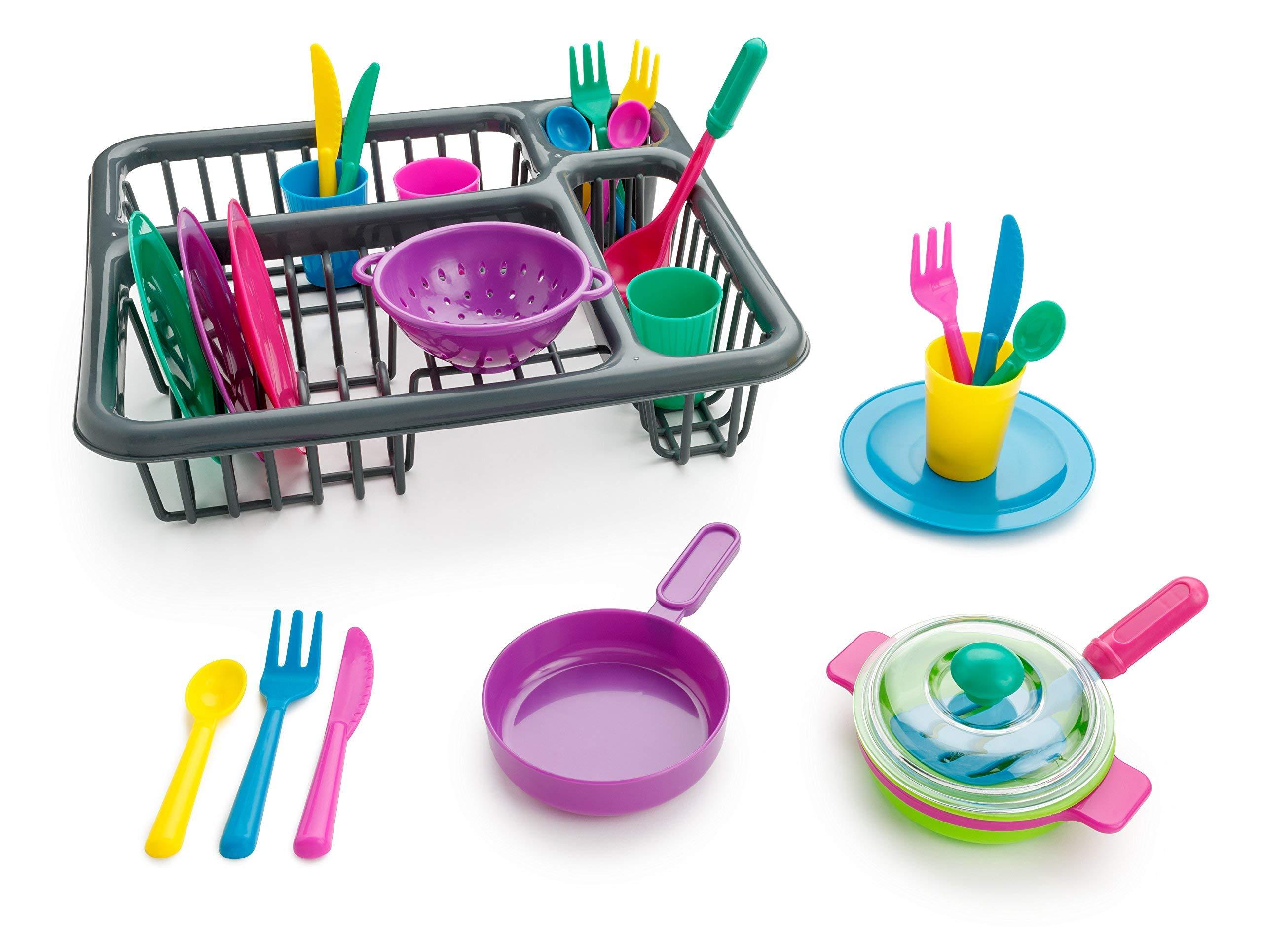 Playkidz: Super Durable Kids Play Dishes - Pretend Play Childrens Dish Set - 27 Piece with Drainer by Playkidz
