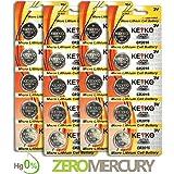 CR2016 Battery 3V Lithium Coin Cell Battery Type 2016 / DL2016 / ECR2016 Genuine KEYKO ® Supreme High Energy™ - 20 pcs Pack