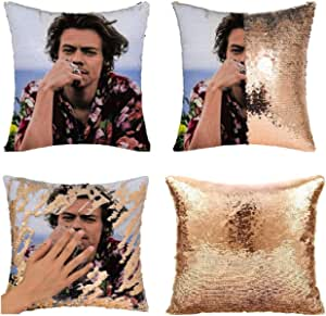 MODCON Harry Pillow Covers Funny Sequin Pillow Case Harry Funny Gag Gifts Magic Reversible Decorative Cushion Cover (NO Pillow Insert) (1: Champagne Gold)