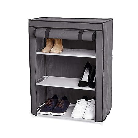 Store & Style, scarpiera a 3 ripiani, 9 paia di scarpe, struttura in metallo, grigia, 60 x 29 x 79,5