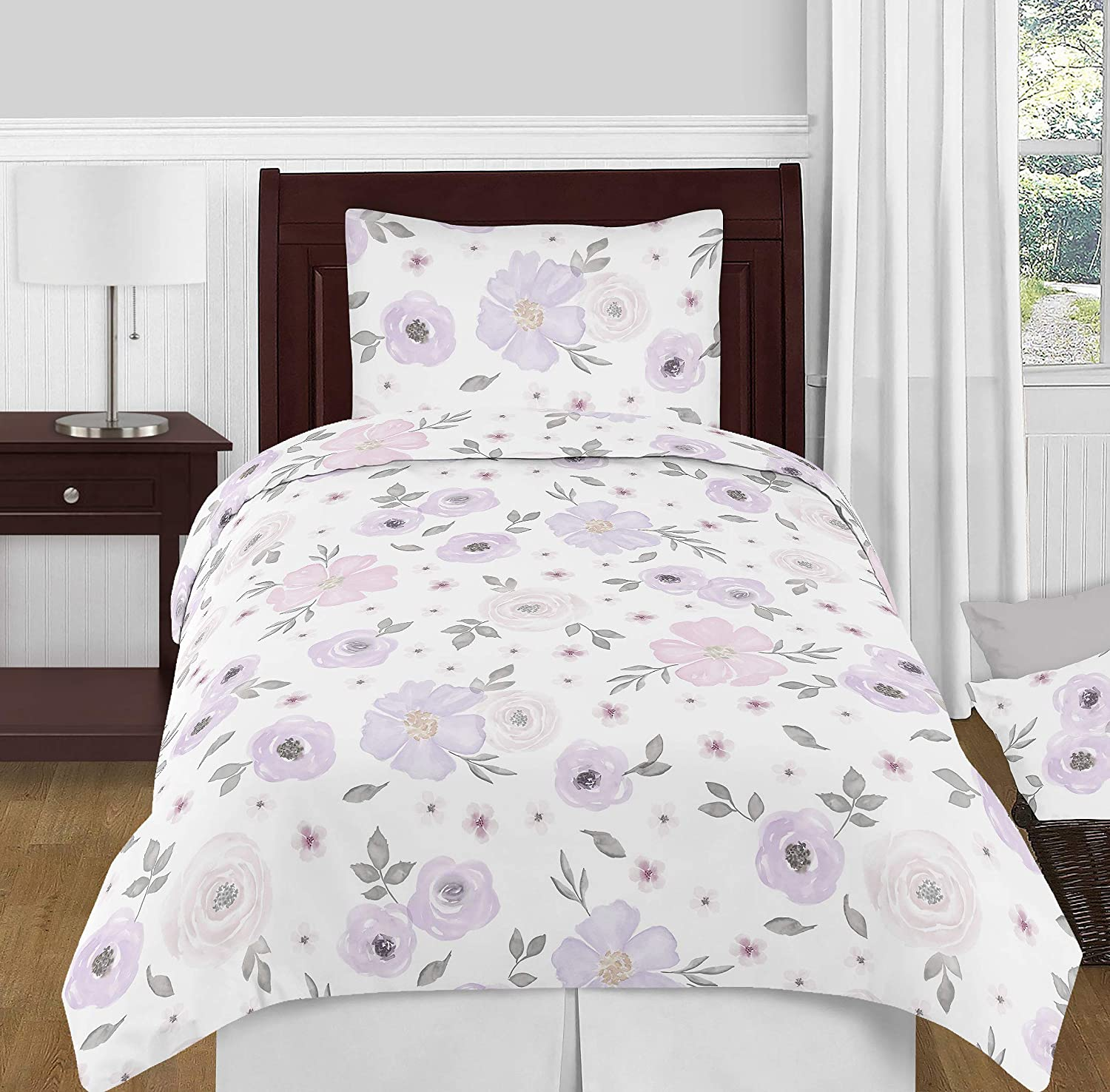 BEAUTIFUL COTTAGE CHIC COZY COUNTRY PURPLE LILAC LAVENDER GREEN WHITE QUILT SET
