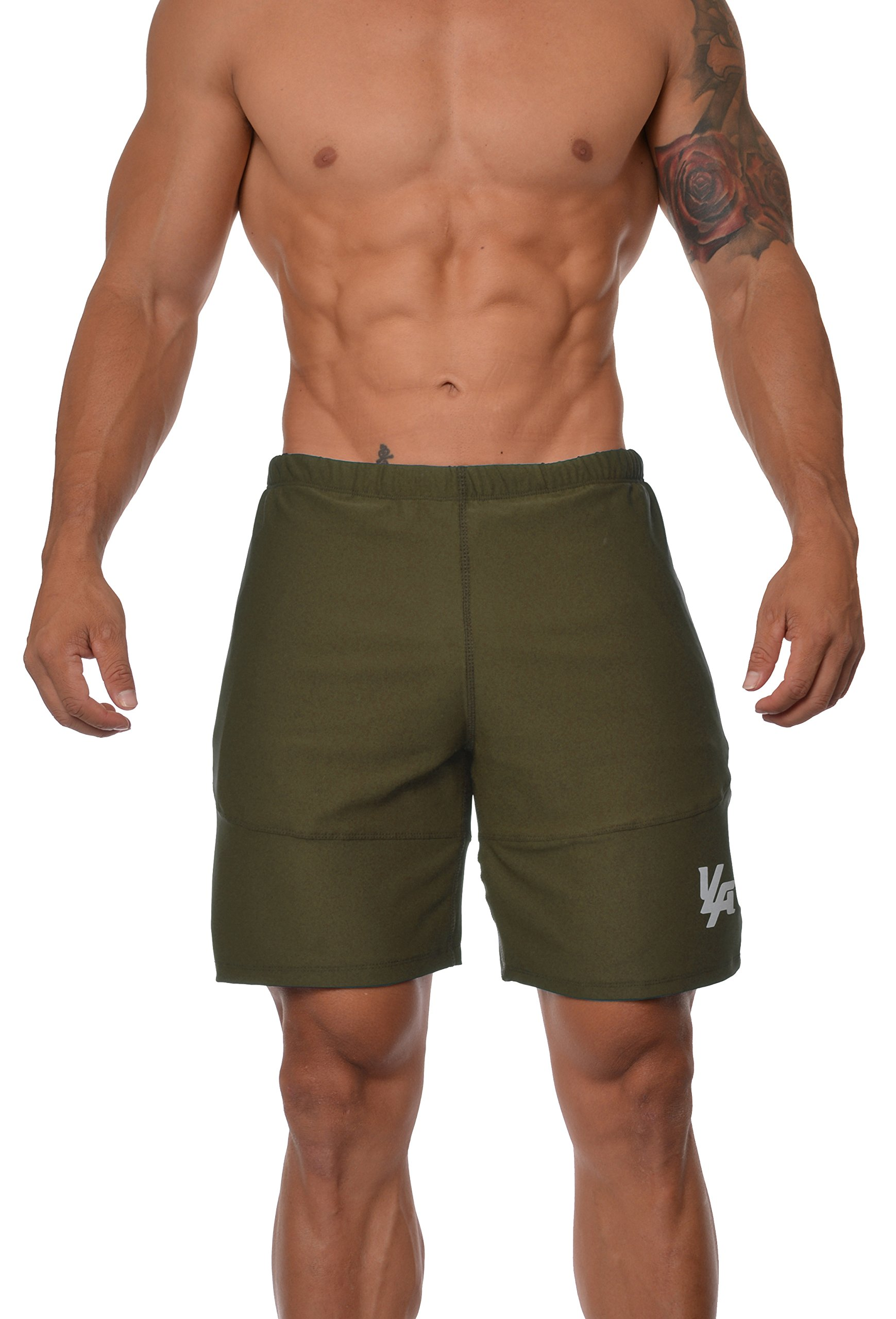 19cfa33fb YoungLA Mens Workout Shorts Casual Gym Athletic Activewear Bodybuilding  w/Zipper Pockets 111 product image