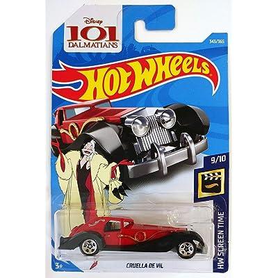 Hot Wheels 2020 50th Anniversary HW Screen Time Disney's 101 Dalmations Cruella De Vil 343/365, Red: Toys & Games