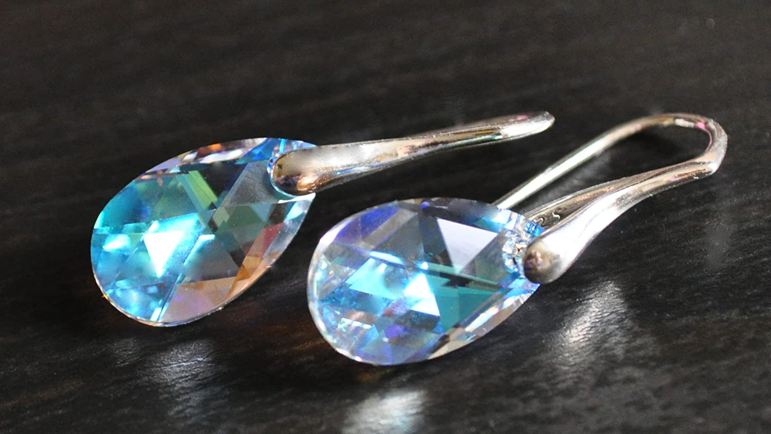 Sterling Silver Made with Swarovski Crystals Blue Aurora Borealis Drop Pierced Earrings brqUPw