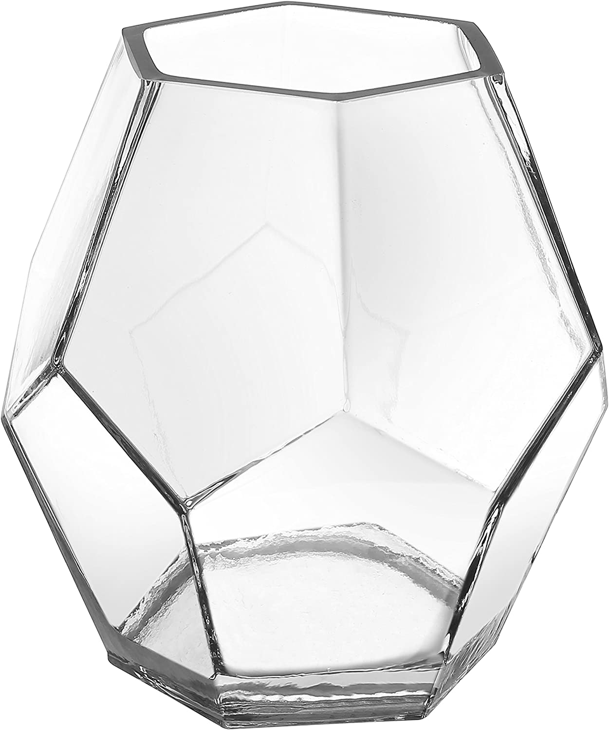 MyGift 5-inch Clear Glass Hexagon Shape Flower Vase, Tabletop Prism Wedding Party Decor