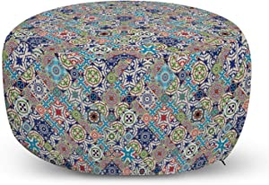 Ambesonne Moroccan Ottoman Pouf, Complex Colorful Moroccan Tile Motifs Antique Floral Ornaments Design, Decorative Soft Foot Rest with Removable Cover Living Room and Bedroom, Multicolor