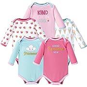 Luvable Friends Unisex Baby Long Sleeve Cotton Bodysuits, Dreamer 5 Pack, 0-3 Months (3M)