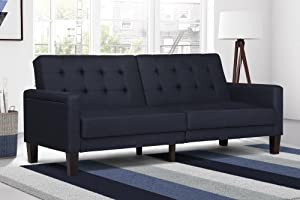 DHP Paris Futon with independently encased coils, Navy