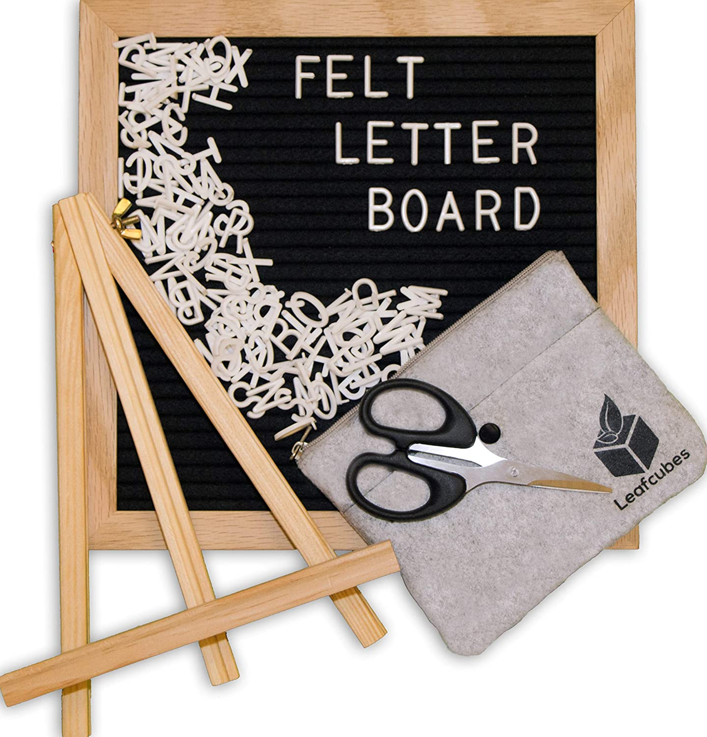 Felt Letter Board 10x10 inches - Letter Board with Letters - Oak Wood Frame Black Felt Letter Board, 364 White Changeable Sign Letters, Emojis Symbols Numbers - Letterboard Hanger, Message Board Stand Leafcubes