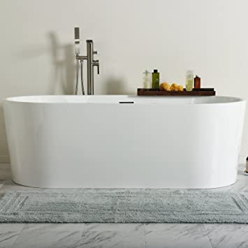 MAYKKE Tisbury 67 Inches Modern Oval Light Acrylic Bathtub Easy To Install  Freestanding White Soaker Tubs