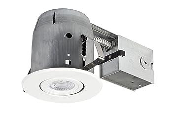 5u0026quot; LED IC Rated Dimmable Downlight Swivel Spotlight Recessed Lighting Kit Easy Install Push  sc 1 st  Amazon.com & Amazon.com: 5