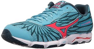 low priced 5b68c a528d Mizuno Women Wave Hitogami 4 Running Shoe, Malibu Blue Pink, 7 B US