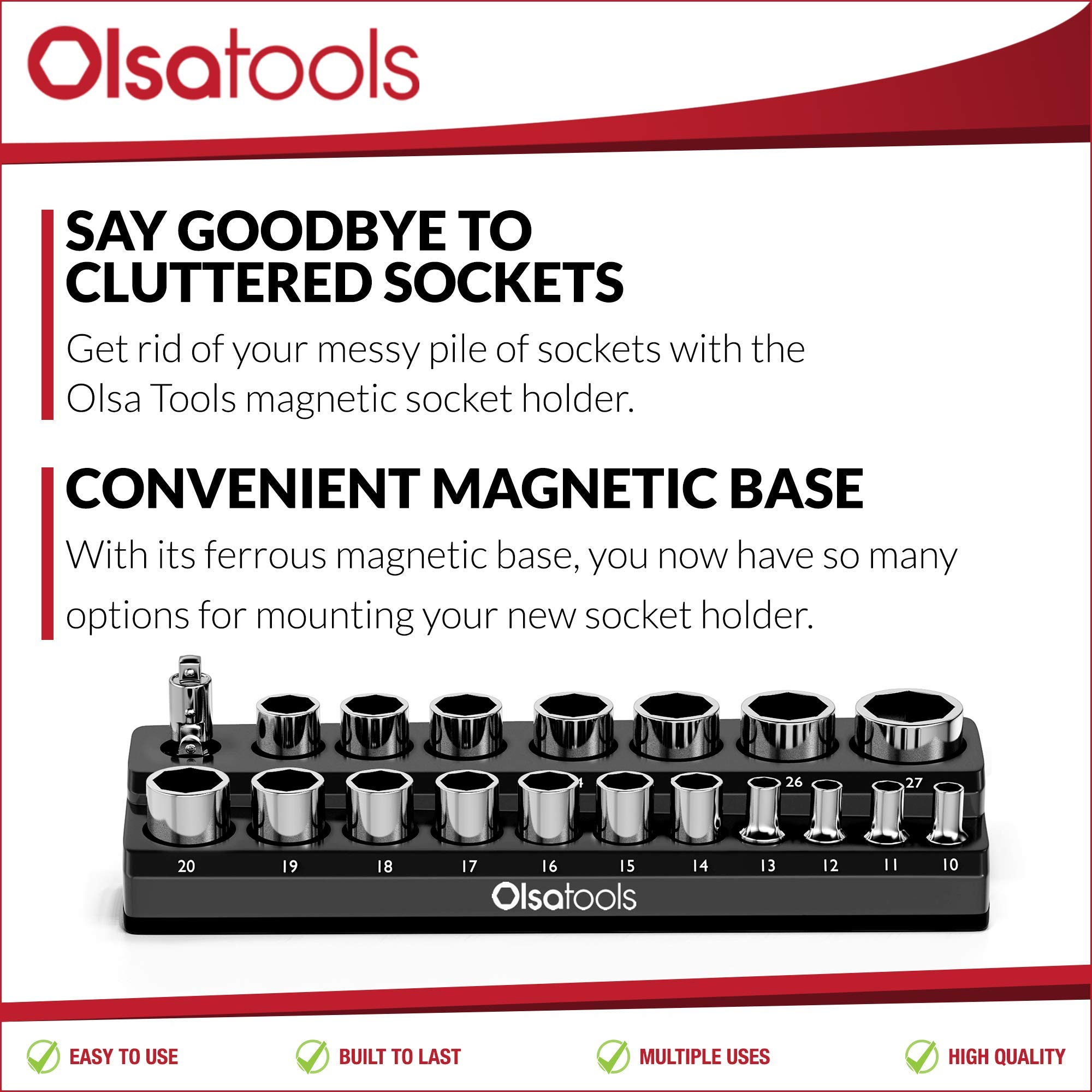 Olsa Tools Magnetic Socket Holder | 1/2-inch Drive | Metric | Black | Holds 19 Sockets | Premium Quality Tools Organizer