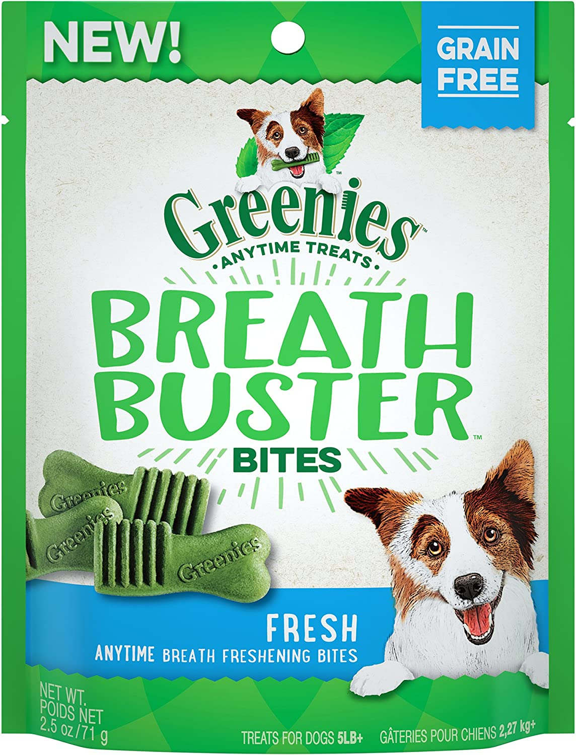 GREENIES BREATH BUSTER Bites Fresh Flavor Treats for Dogs 2.5 Ounces