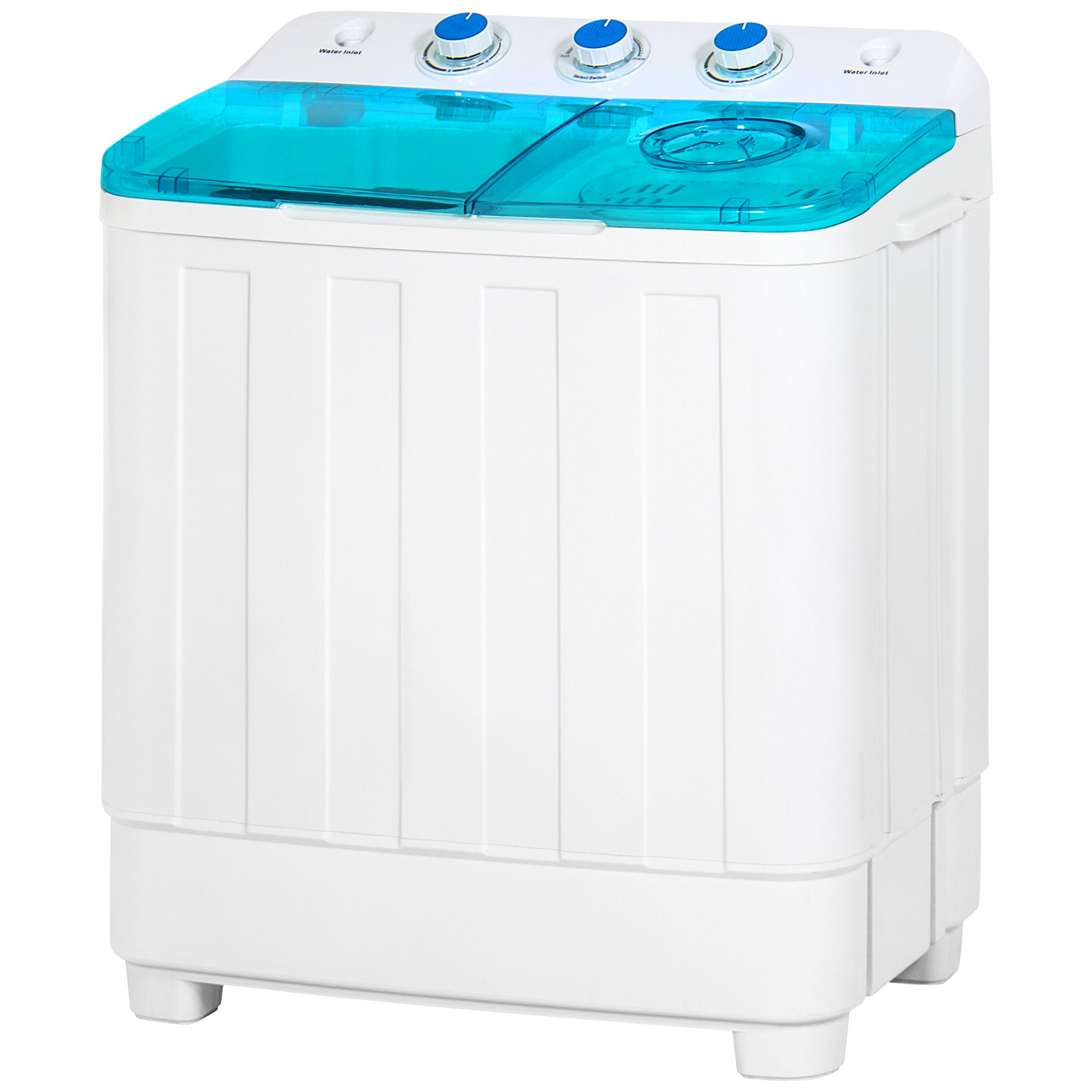 Best Choice Products Portable Mini Twin Tub Compact Washing Machine w/ Spin Dry Cycle - White/Blue