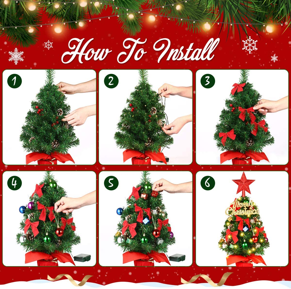 Tabletop Christmas Tree, Artificial Small Christmas Tree with 8 Lighting Modes Christmas Decorations Home Decor