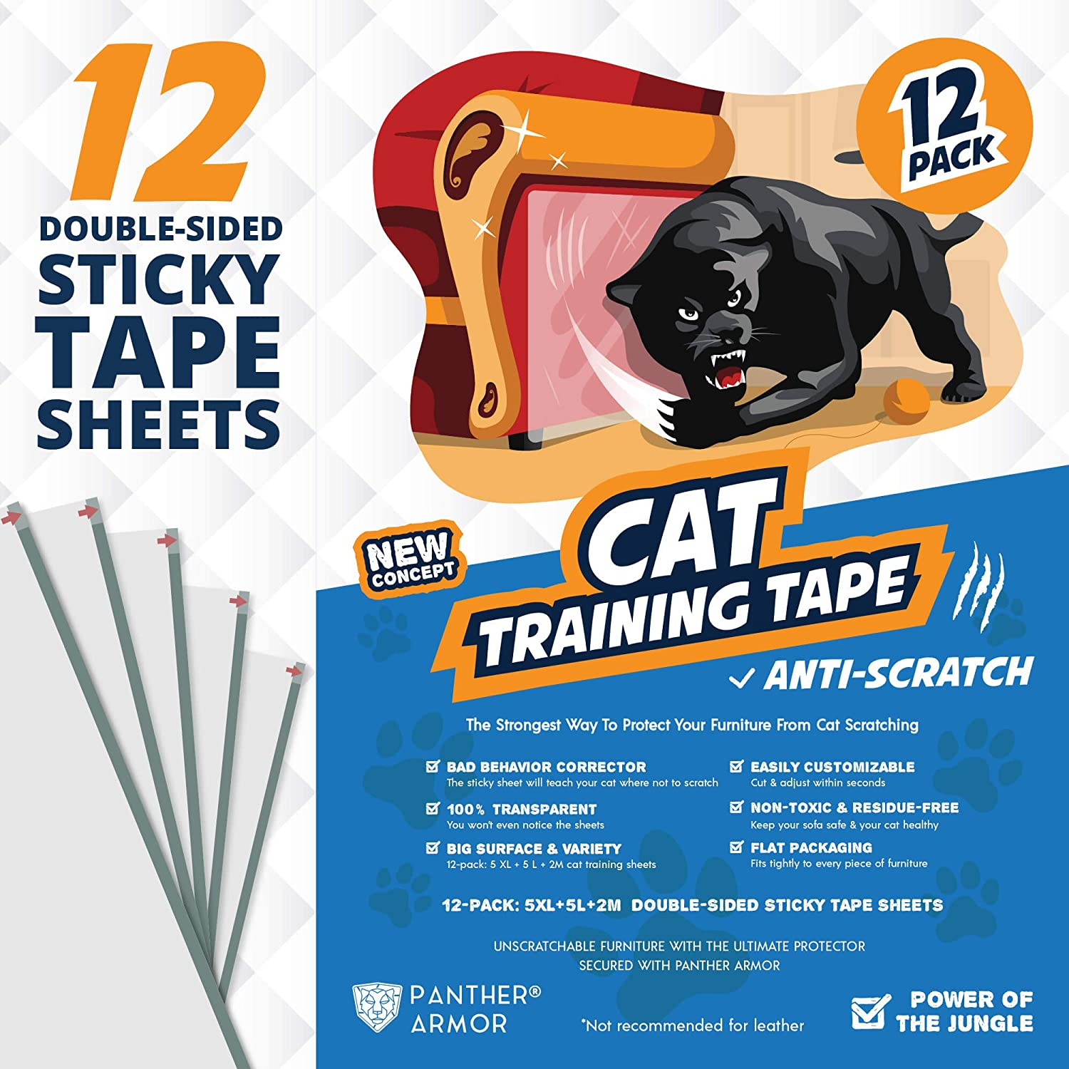 "Panther Armor Cat Scratch Deterrent Tape – 12-Pack Double Sided Anti Scratching Sticky Tape – 5-Pack XL 16""L 12""W + 5-Pack Large 17""L 10""W + 2-Pack M 17""L 6""W Furniture Protectors – Training Tape"