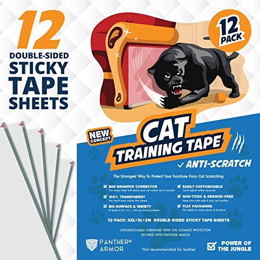 """Panther Armor Cat Scratch Deterrent Tape – 12-Pack Double Sided Anti Scratching Sticky Tape – 5-Pack XL 16""""L 12""""W + 5-Pack Large 17""""L 10""""W + 2-Pack M 17""""L 6""""W Furniture Protectors – Training Tape"""