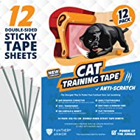 "Panther Armor Cat Scratch Deterrent Tape – 12-Pack Double Sided Anti Scratching Sticky Tape – 5-Pack XL 16""L 12""W + 5…"