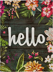"""pingpi Hello Floral Home & Garden Flag Double Sided Burlap 12.5""""x18"""""""