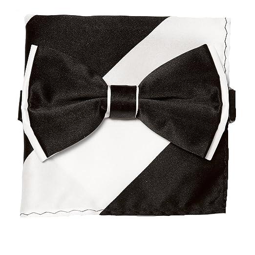 91a082c21c89 Amazon.com: Bow Tie Handkerchief Set Two Tone BLACK / WHITE Color BowTie  Hanky Pocket Square: Clothing