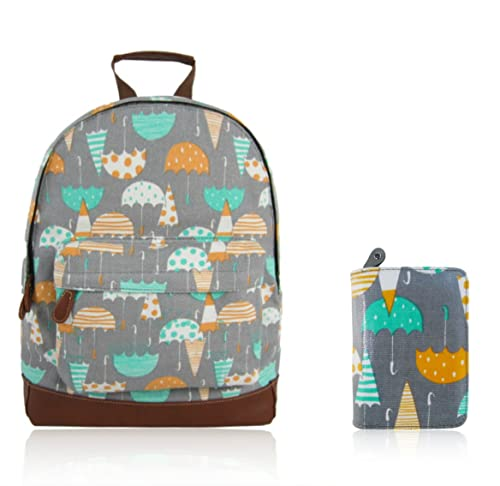 Craze London New Childrens Designer Style Canvas UMBERILLA Print Backpack  Bag With Matching Purse- JC a353991283705