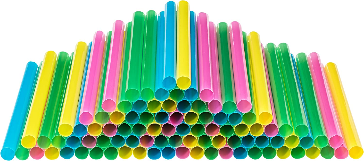 """Jumbo Smoothie Straws Extra Wide - Individually Wrapped 100 Pack, BPA Free Milkshake Straw 0.47"""" Multi Colored Large Disposable For Boba Tea, Restaurants - by DuraHome"""