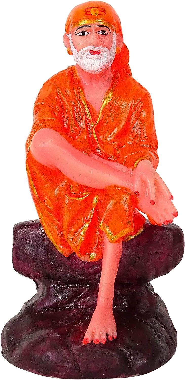 IBA Indianbeautifulart Hindu God Idol Lord Sai Baba Resin Statue Sculpted in Great Detail 12 cm Idol for Car Dashboard