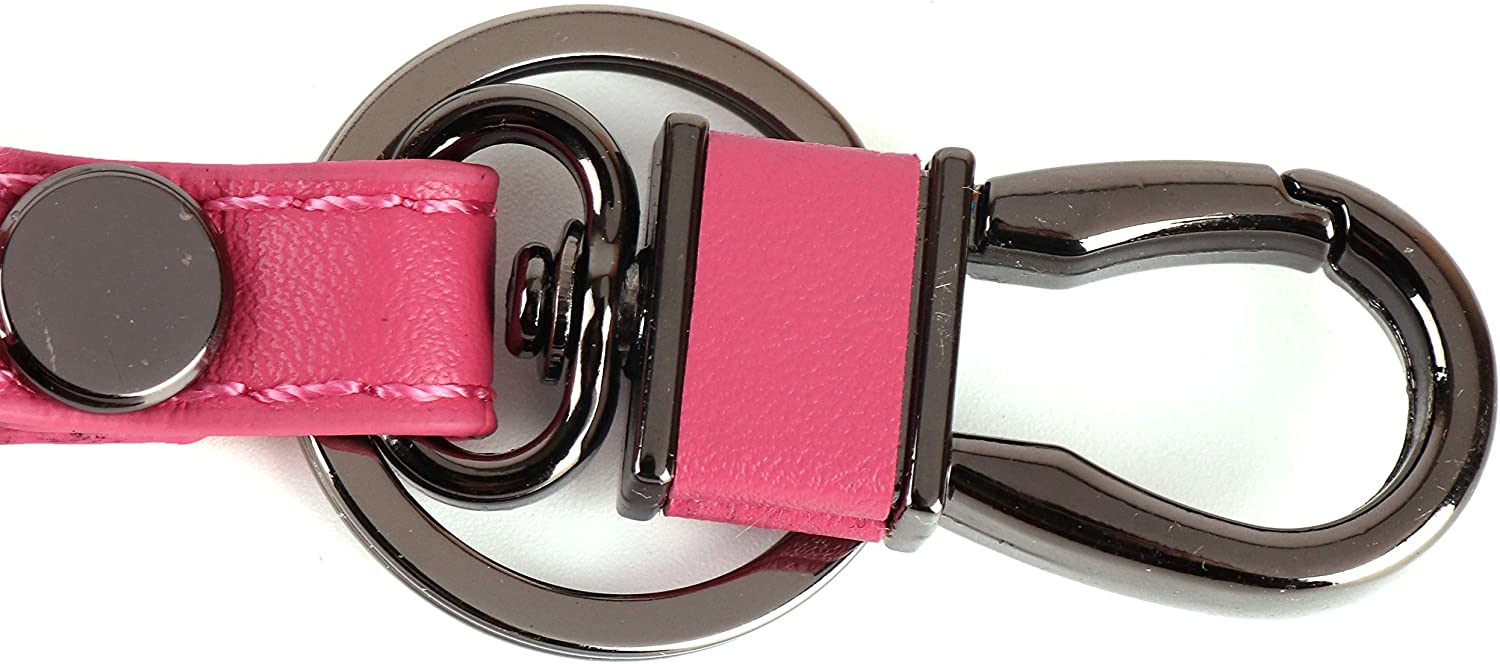 Leather Car Smart Key Chains Keychain Car Key Case for Mazda Metal Hook and Key Ring magnet buckle for Remote Key Fob (Pink)