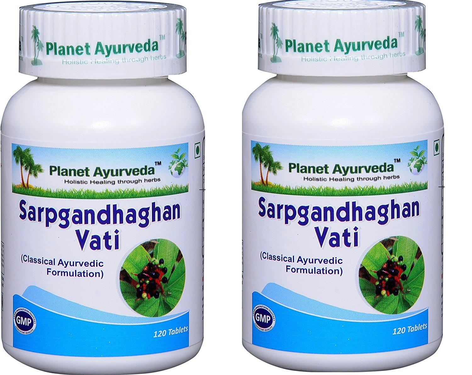 Sarpgandhaghan Vati (Rauwolfia serpentina) for Hypertension - 2 bottles (each 120 tablets, 500mg) - Planet Ayurveda (in USA) by Planet Ayurveda