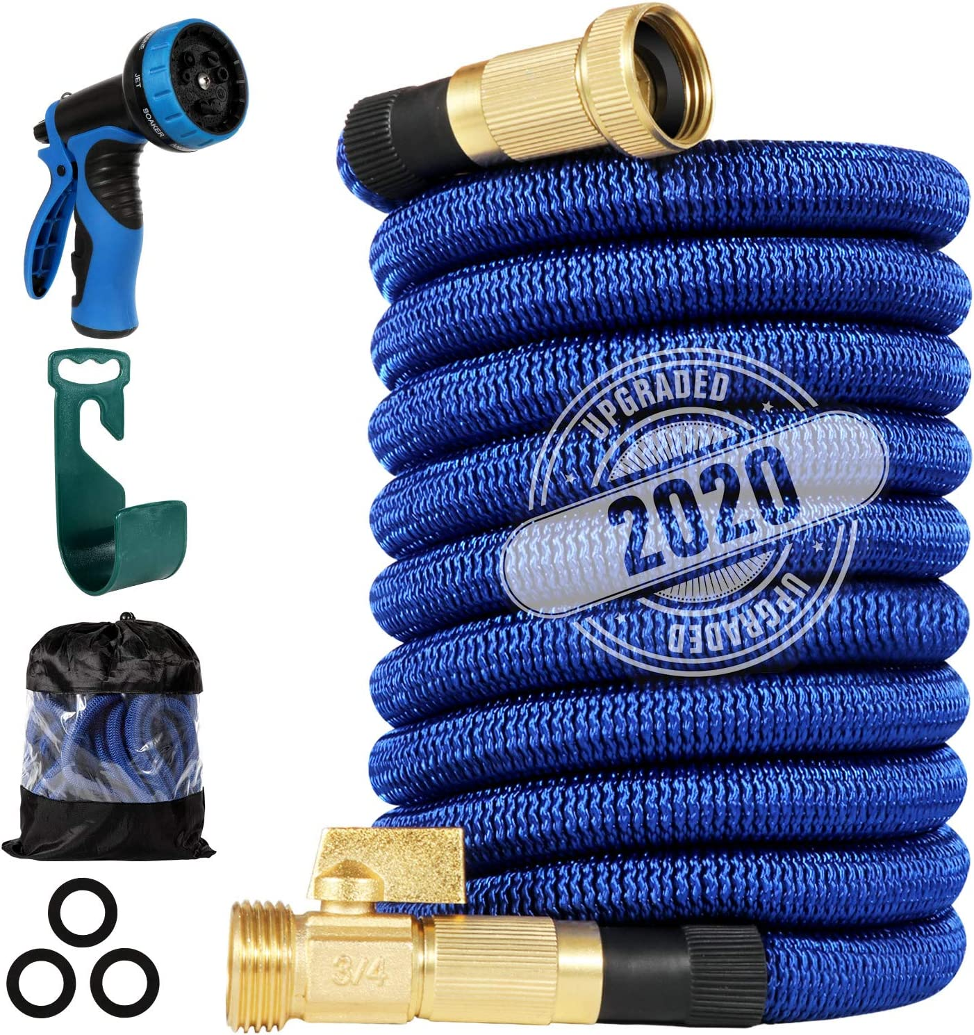 "200 ft Expandable Garden Hose,Strongest Flexible Water Hose, 9 Functions Sprayer with Double Latex Core, 3/4"" Solid Brass Fittings, Extra Strength Fabric - 2020 Upgraded Lightweight Expanding Hose"