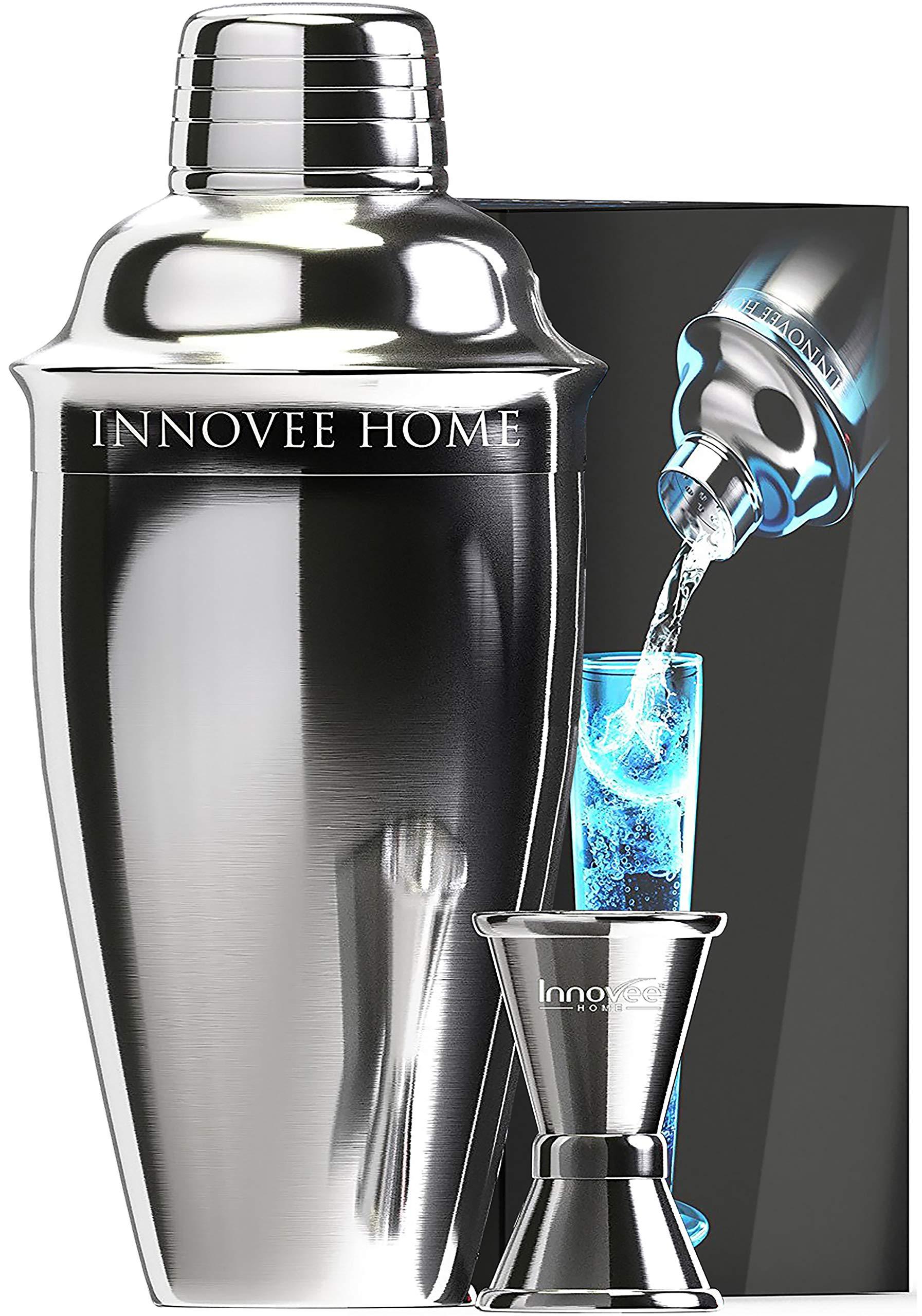 Innovee Cocktail Shaker - Premium Bar Set w/Free Jigger & Recipes(e-Book) 24oz w/Built-in Strainer