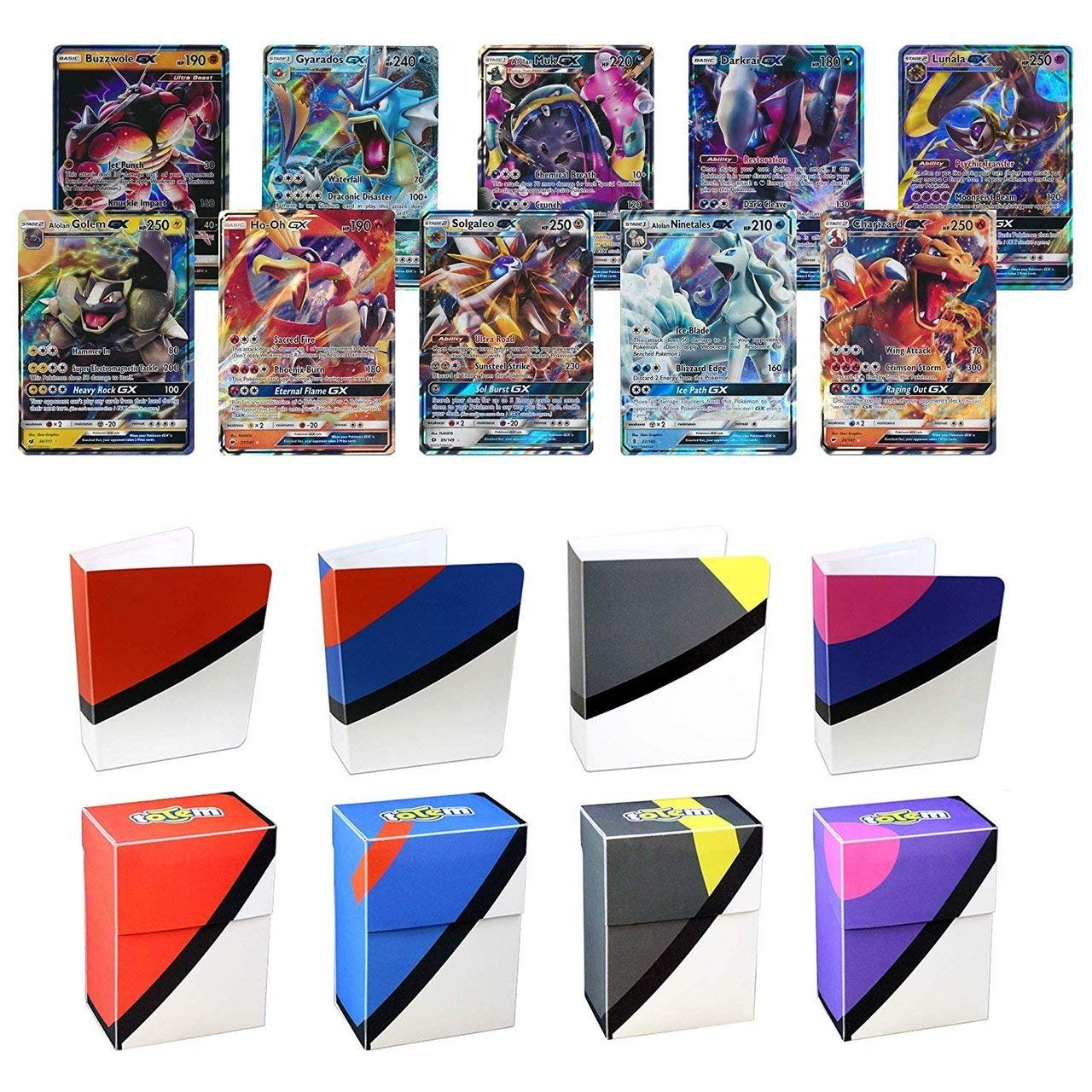 Totem World 10 Pokemon Card Lot of All GX Ultra Rares - No Duplicates - Includes Totem Mini Binder and Deck Box