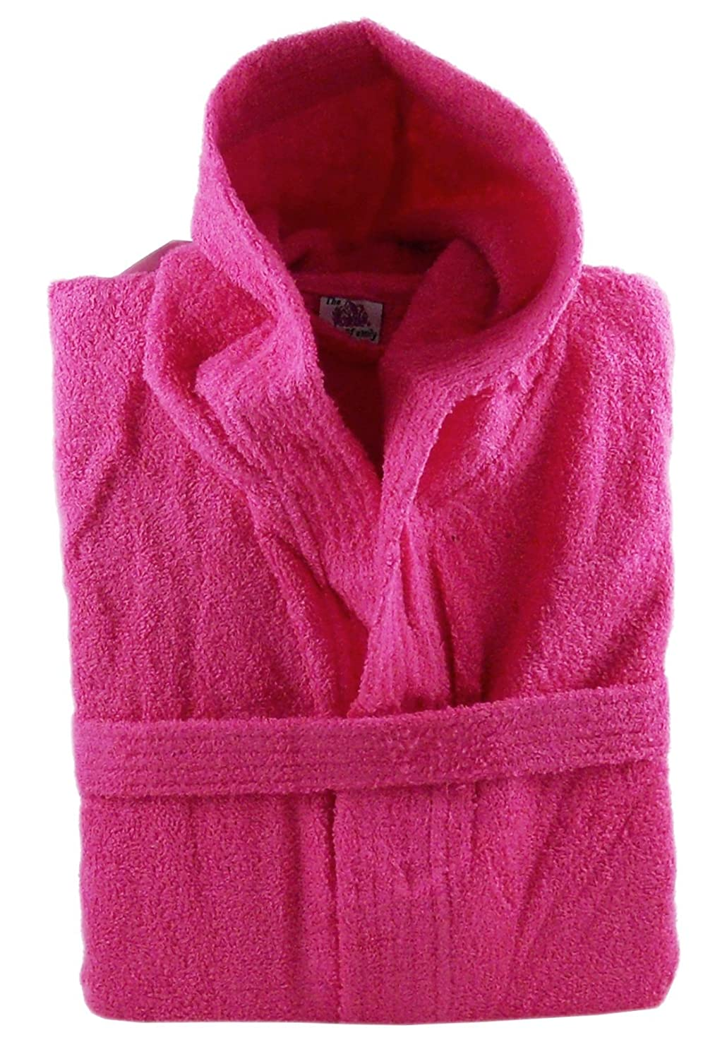 100% Cotton Terry Towelling Hooded Bath Robe + Matching Belt - Extra Large (Fuchsia Pink)