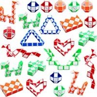 Sunshane 24 Pack 24 Blocks Magic Snake Cube, Mini Snake Speed Cubes, Twist Puzzle Toys for Kids Party Bag Fillers, Party…