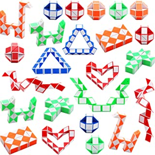 Sunshane 24 Pack 24 Blocks Magic Snake Cube, Mini Snake Speed Cubes, Twist Puzzle Toys for Kids Party Bag Fillers, Party Favours, Random Color