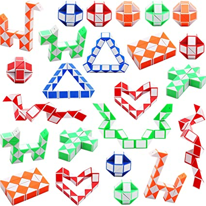 816b3873e5835 Sunshane 24 Pack 24 Blocks Magic Snake Cube, Mini Snake Speed Cubes, Twist  Puzzle Toys for Kids Party Bag Fillers, Party Favours, Random Color