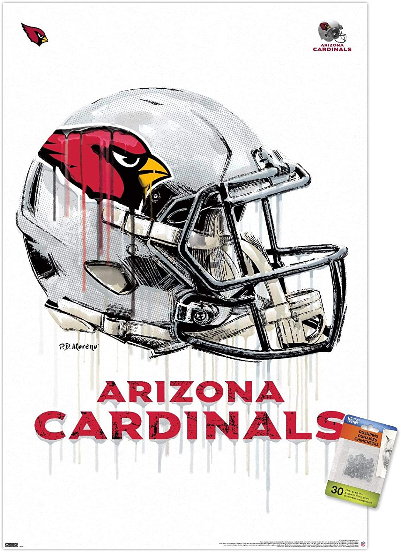 NFL Arizona Cardinals - Drip Helmet 20 Wall Poster with Push Pins