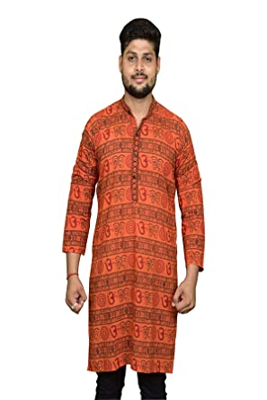 7f572018 PinkCity Style Mens Kurta Orange In Cotton (Pcs_23): Amazon.in ...